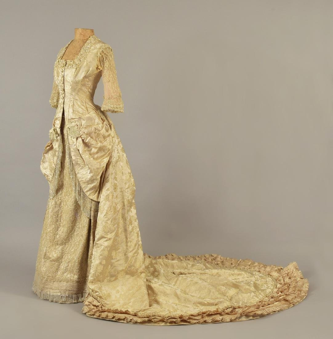 BEADED BROCADE WEDDING GOWN, c. 1879