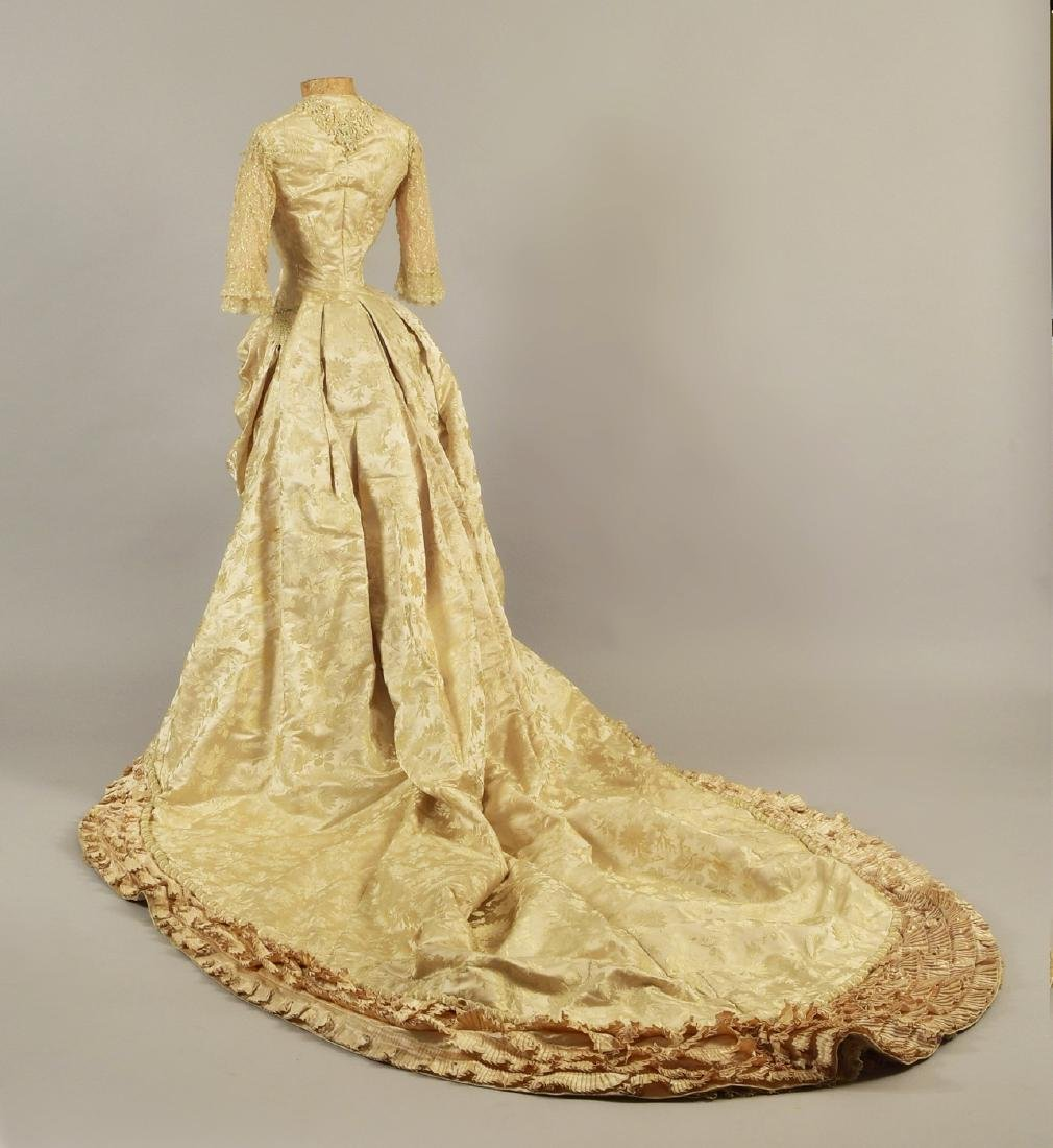 BEADED BROCADE WEDDING GOWN, c. 1879 - 2