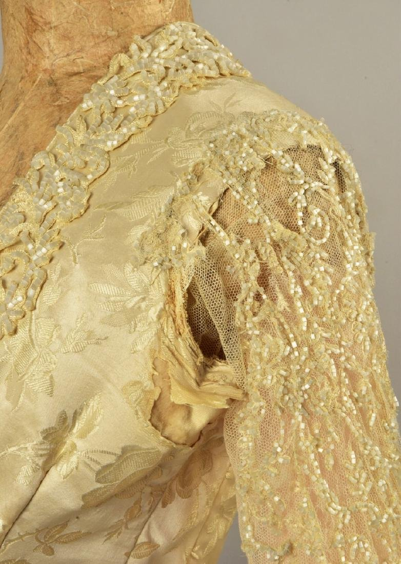 BEADED BROCADE WEDDING GOWN, c. 1879 - 4