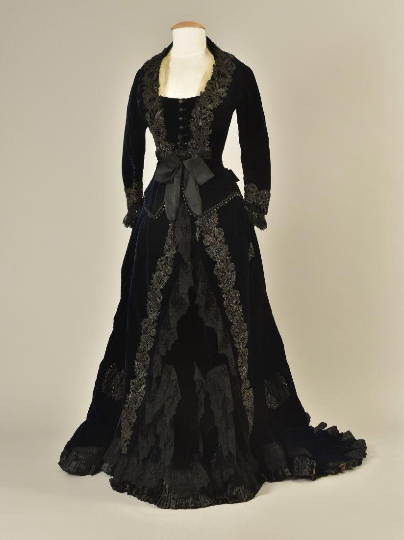 JET-BEADED VELVET ENSEMBLE, 1880s