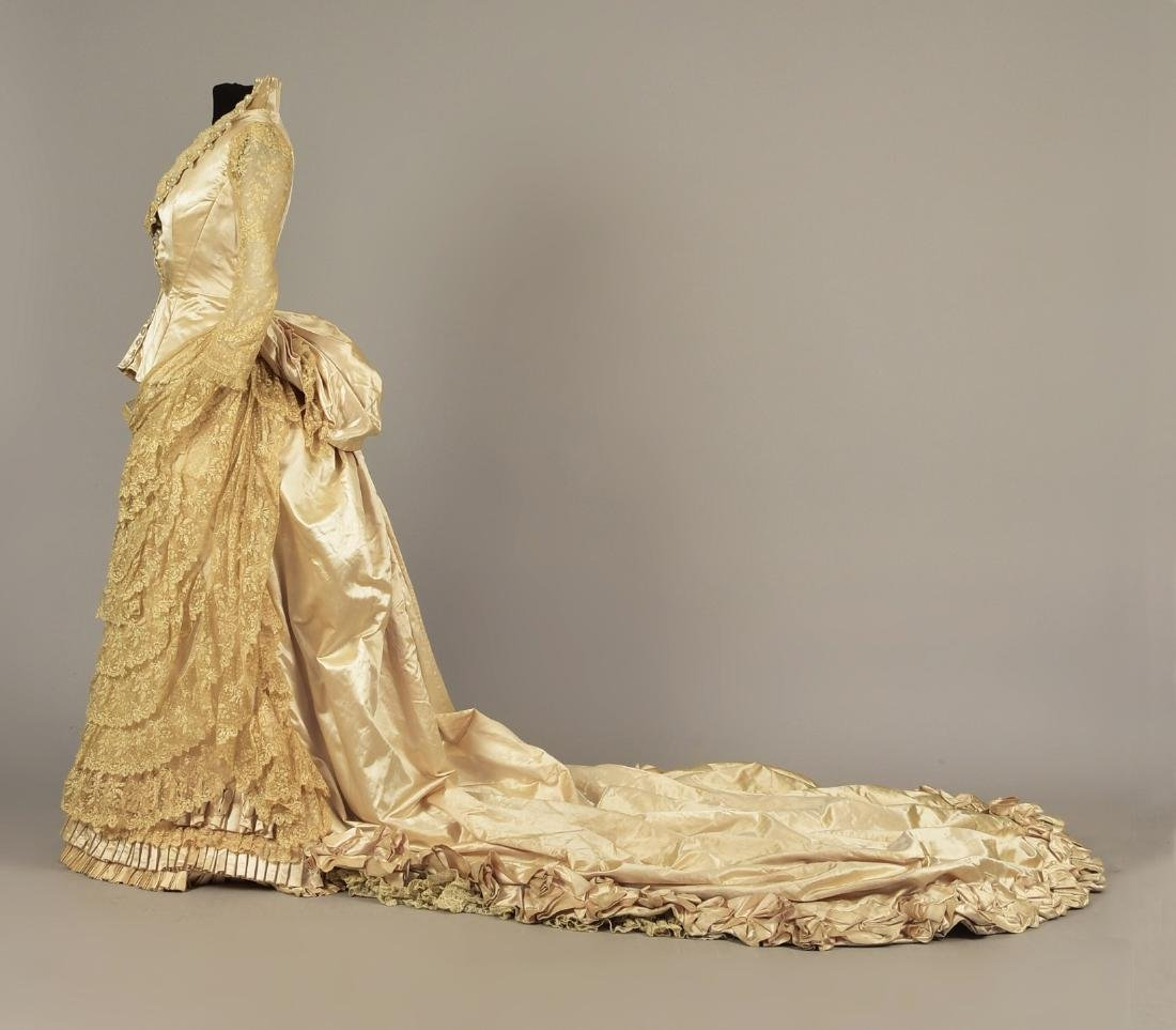 BEADED SATIN WEDDING GOWN with LONG TRAIN, 1884