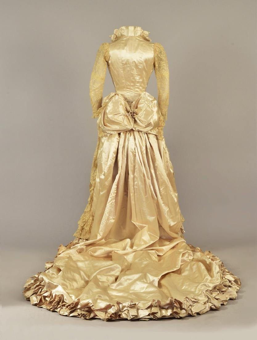 BEADED SATIN WEDDING GOWN with LONG TRAIN, 1884 - 2