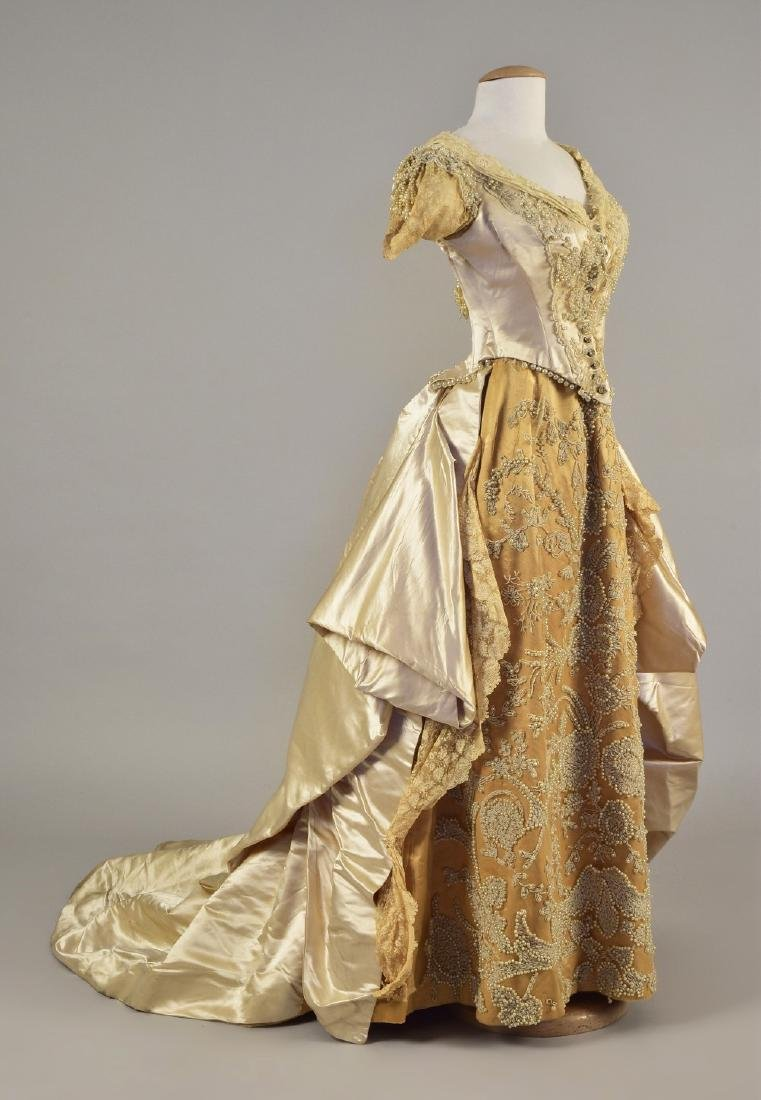 BEADED SATIN WEDDING/ PRESENTATION GOWN, c. 1885
