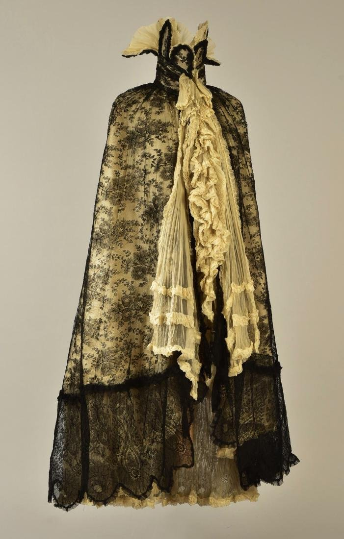 BLACK LACE CAPE with FANCY STAND COLLAR, 1890