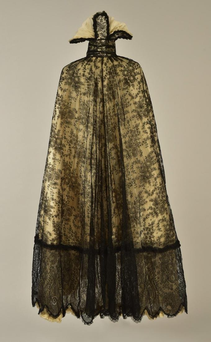 BLACK LACE CAPE with FANCY STAND COLLAR, 1890 - 2