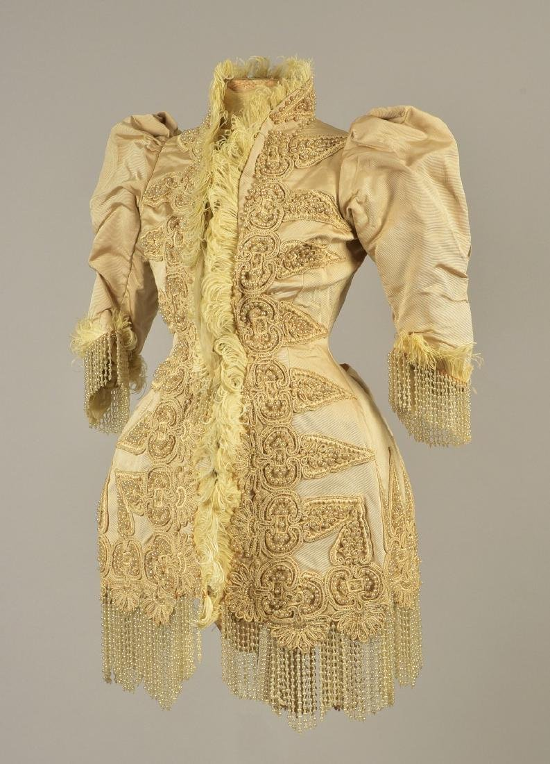 PARIS SILK JACKET with PEARLS, FEATHERS and CORDING, c.