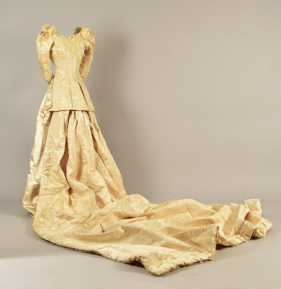 LONDON TRAINED WEDDING GOWN and ACCESSORIES, c. 1890 - 2