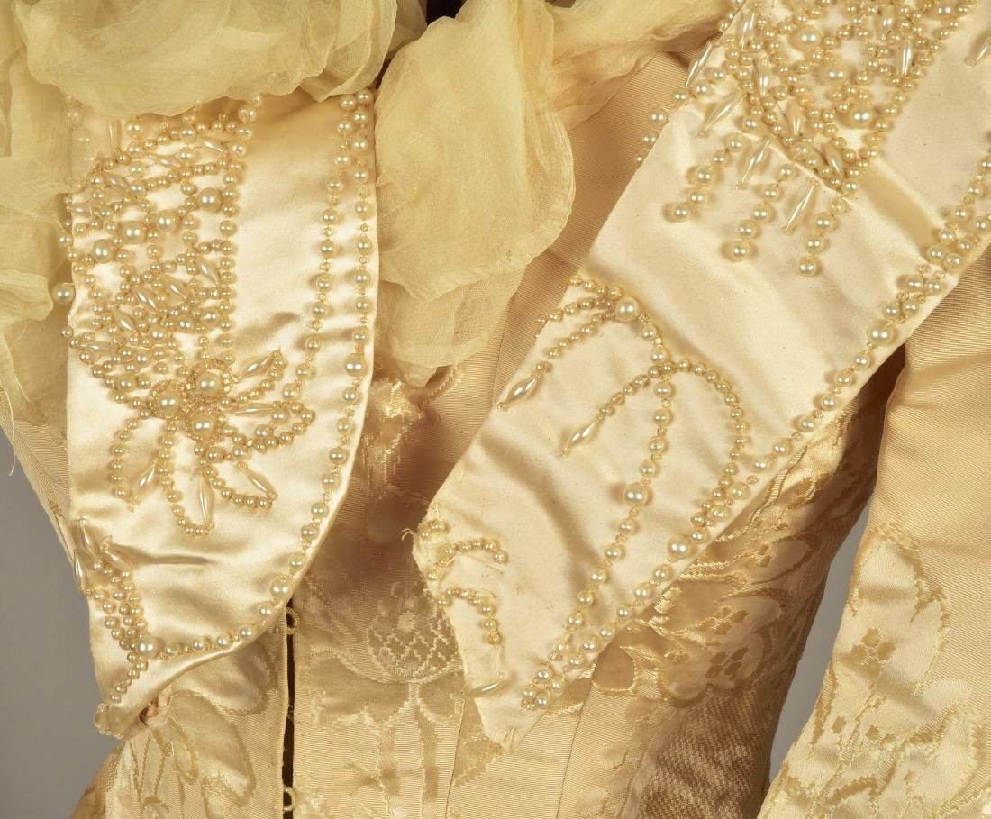 LONDON TRAINED WEDDING GOWN and ACCESSORIES, c. 1890 - 4
