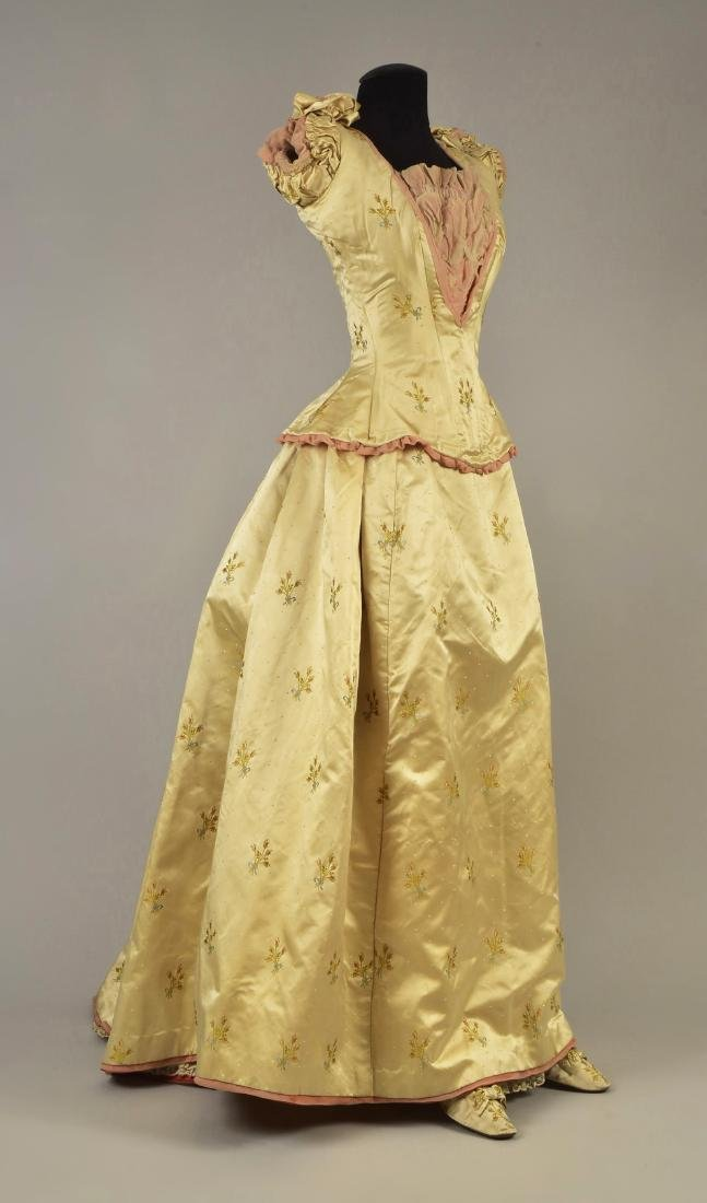 SATIN BALLGOWN with MATCHING SLIPPERS, c. 1890