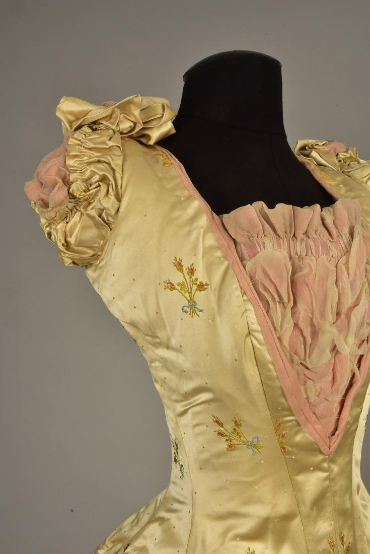 SATIN BALLGOWN with MATCHING SLIPPERS, c. 1890 - 3