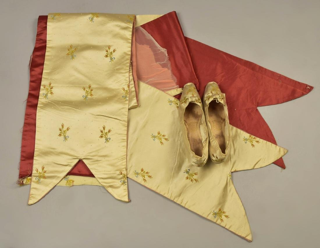 SATIN BALLGOWN with MATCHING SLIPPERS, c. 1890 - 6