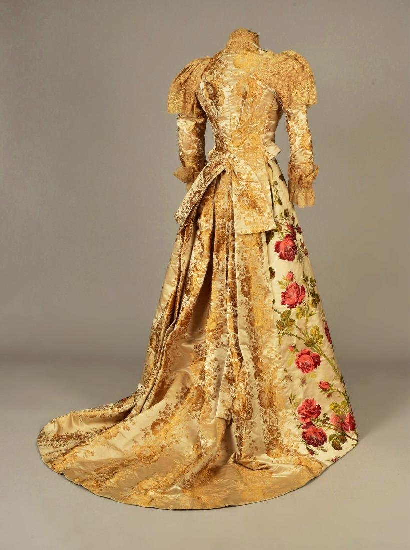 RE-STYLED SILK FLORAL BROCADE GOWN, 1893