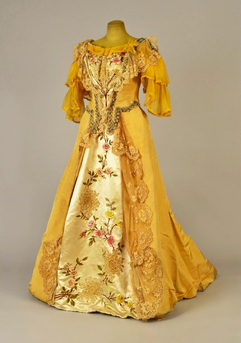 SILK FAILLE GOWN with EMBROIDERED FLORAL and LACE, c.