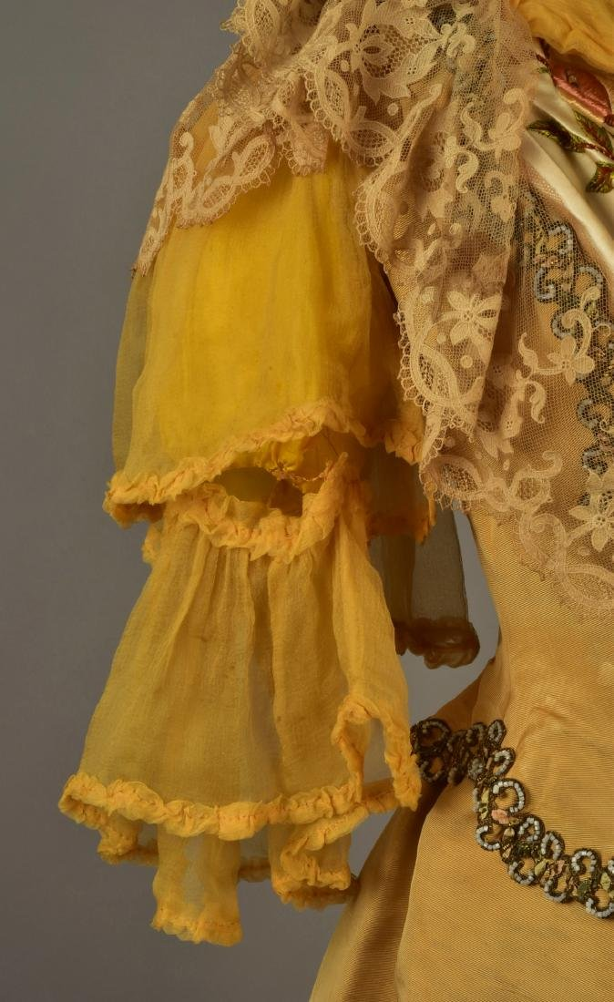 SILK FAILLE GOWN with EMBROIDERED FLORAL and LACE, c. - 5