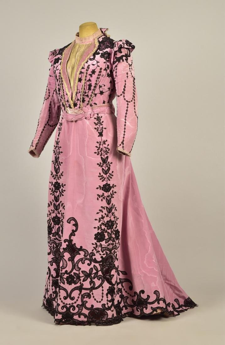 LACE TRIMMED SILK DRESS, c. 1899