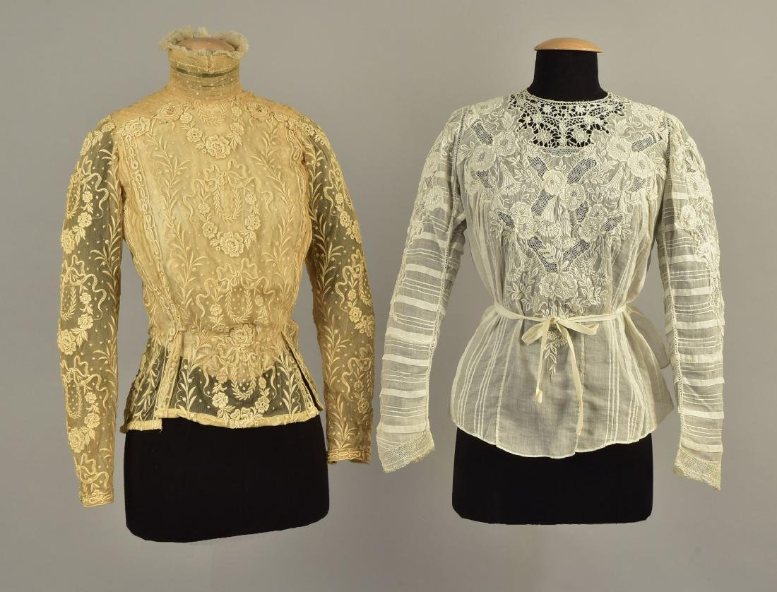 TWO EMBROIDERED BODICES, 1900s