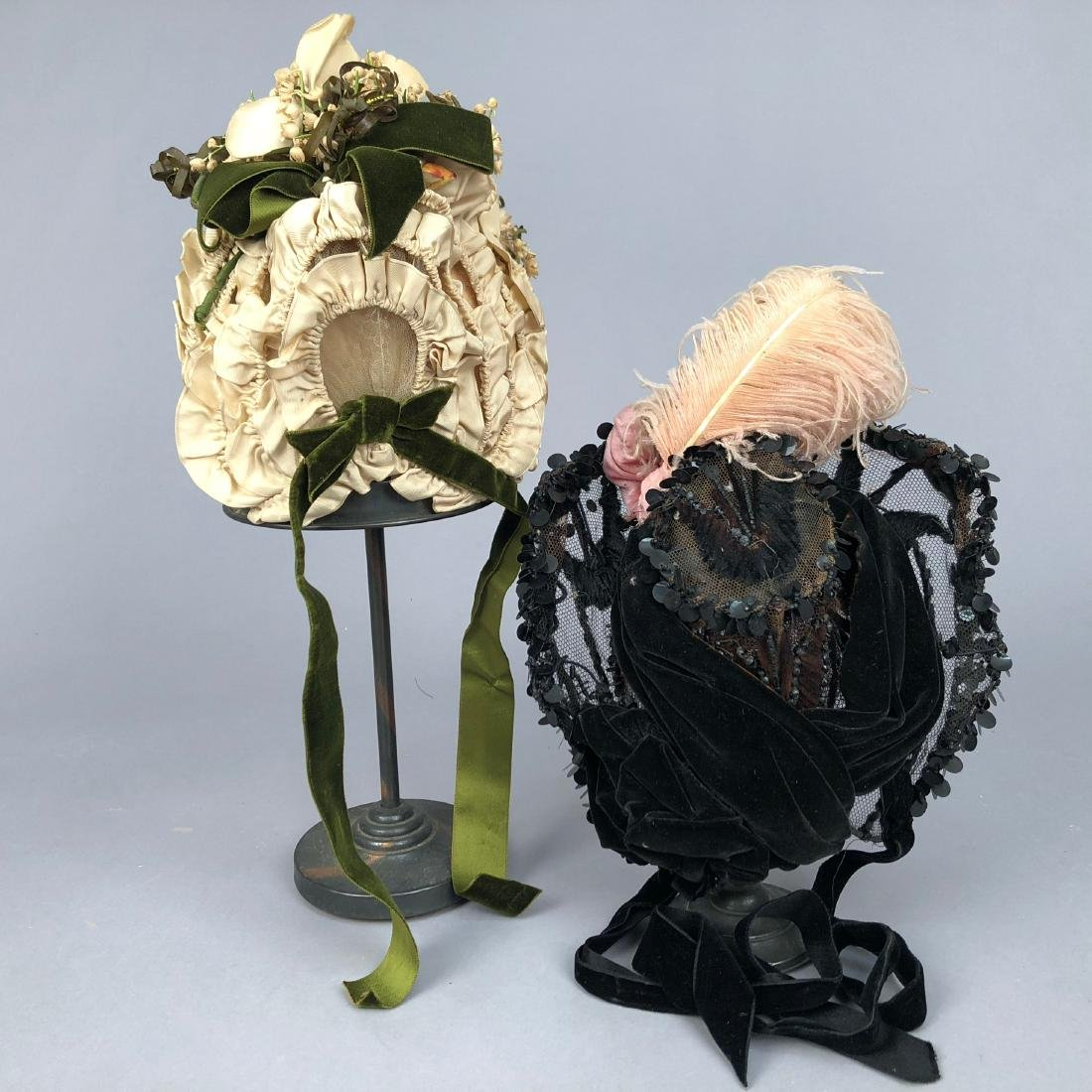 TWO WIRED BONNETS worn by JULIA BUTTERFIELD, 1890