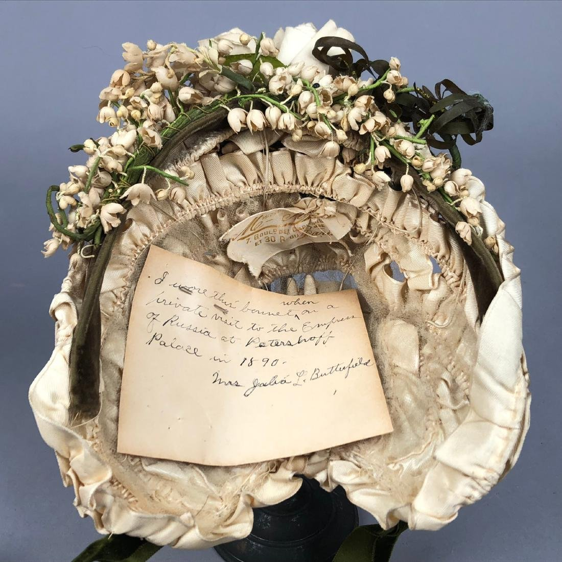 TWO WIRED BONNETS worn by JULIA BUTTERFIELD, 1890 - 5