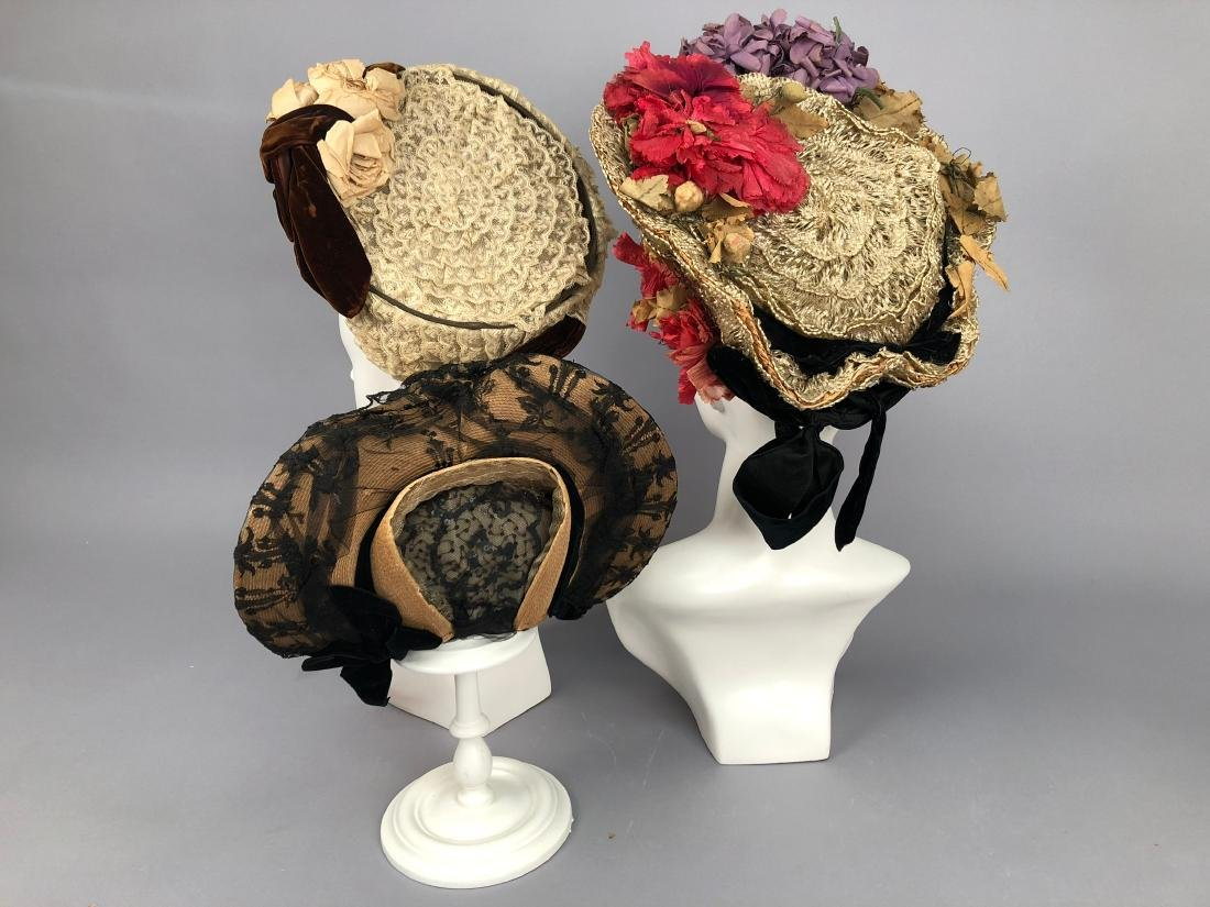 THREE WIRED HIGH-BRIM HATS, 1890s