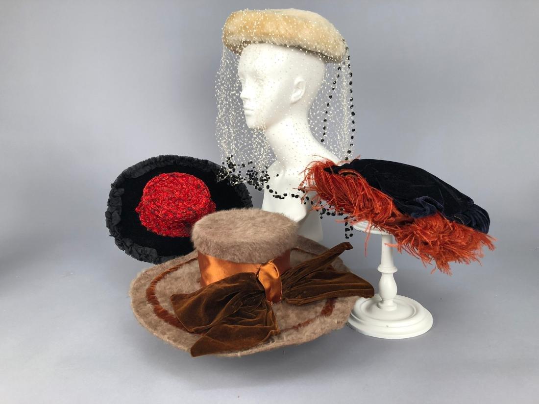 FOUR LADIES' HATS, 1890 - 1905