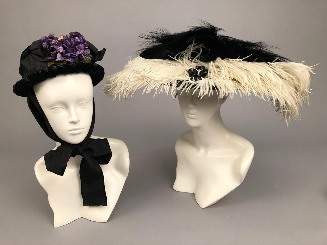 FOUR LADIES' VELVET HATS, 1890 - 1905