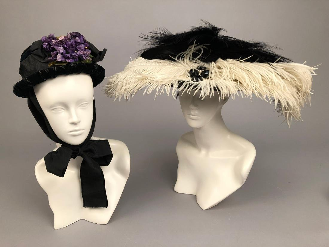 FOUR LADIES' VELVET HATS, 1890 - 1905