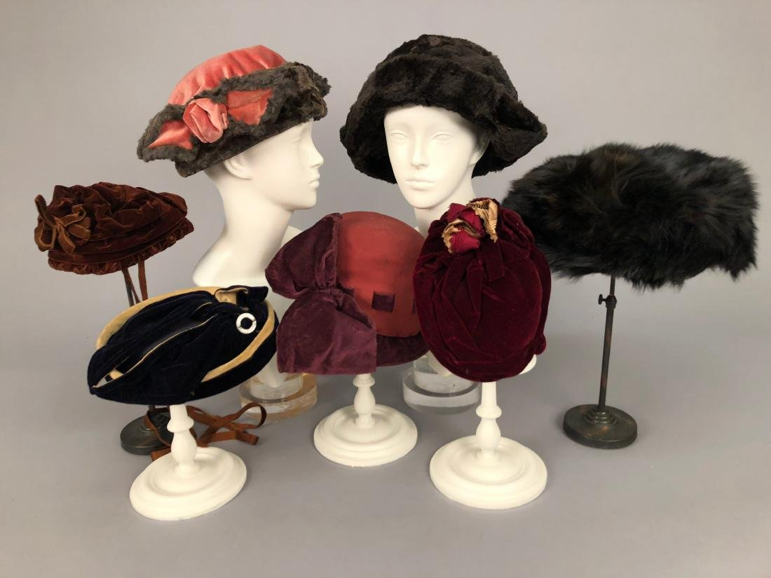 SEVEN ASSORTED LADIES' HATS, 1885 - 1920
