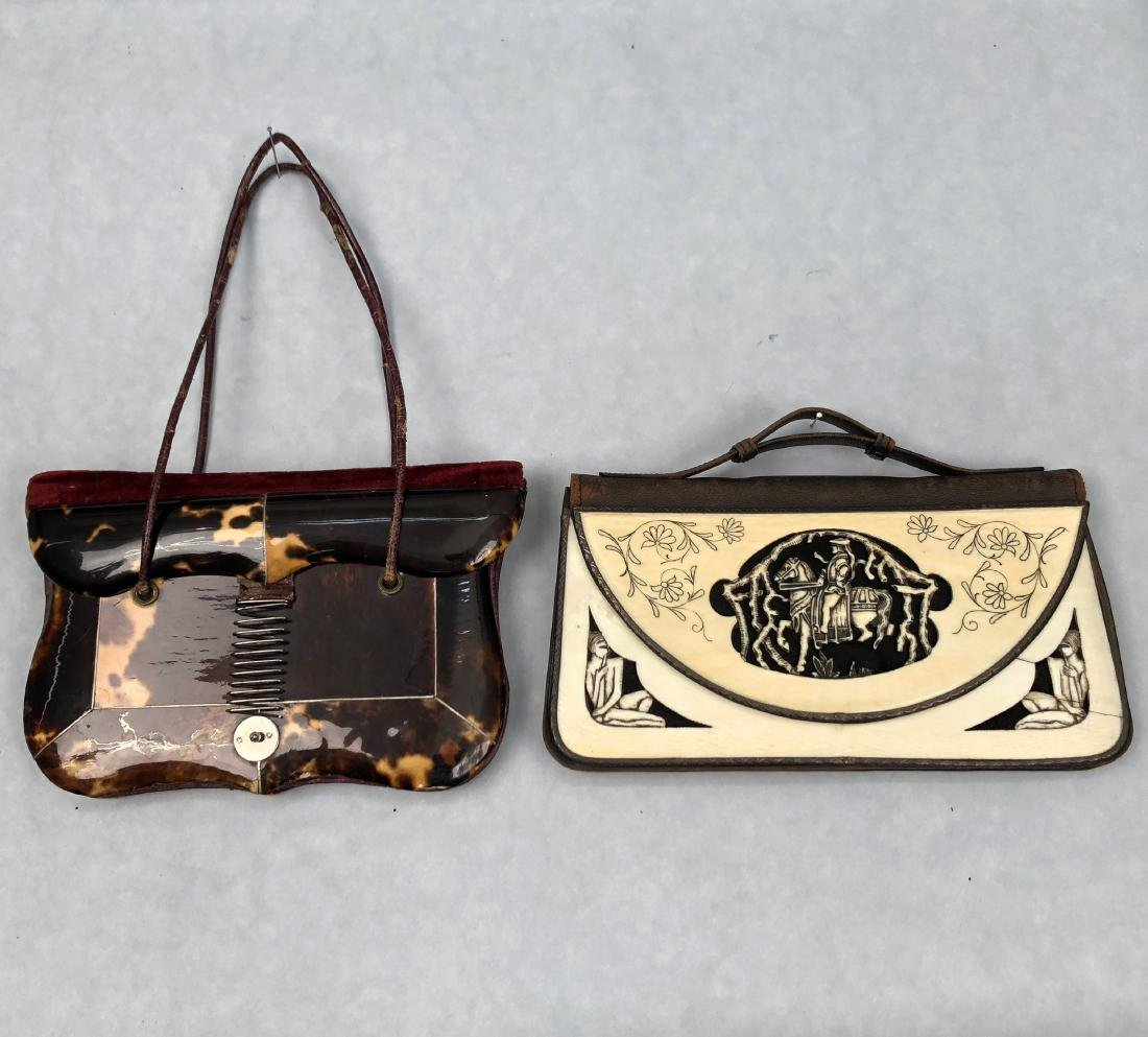 SHELL and IVORY ENVELOPE PURSES, c. 1830 and 1920s