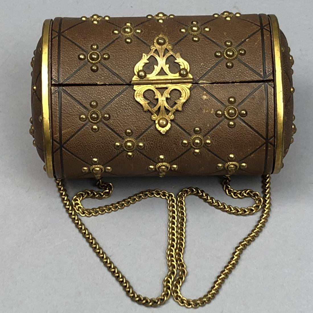 HINGED-LID LEATHER SEWING CASE, 1850 - 1870