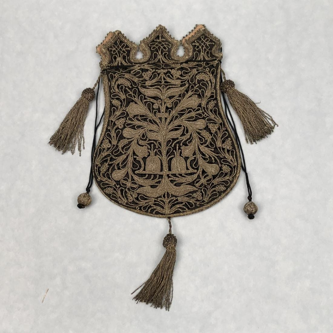 METALLIC EMBROIDERED BAG with TASSELS, 1870s