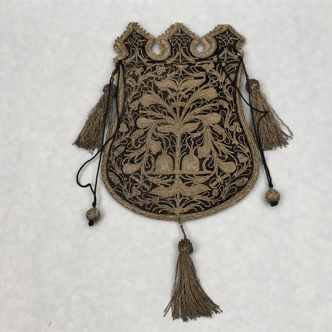 METALLIC EMBROIDERED BAG with TASSELS, 1870s - 3