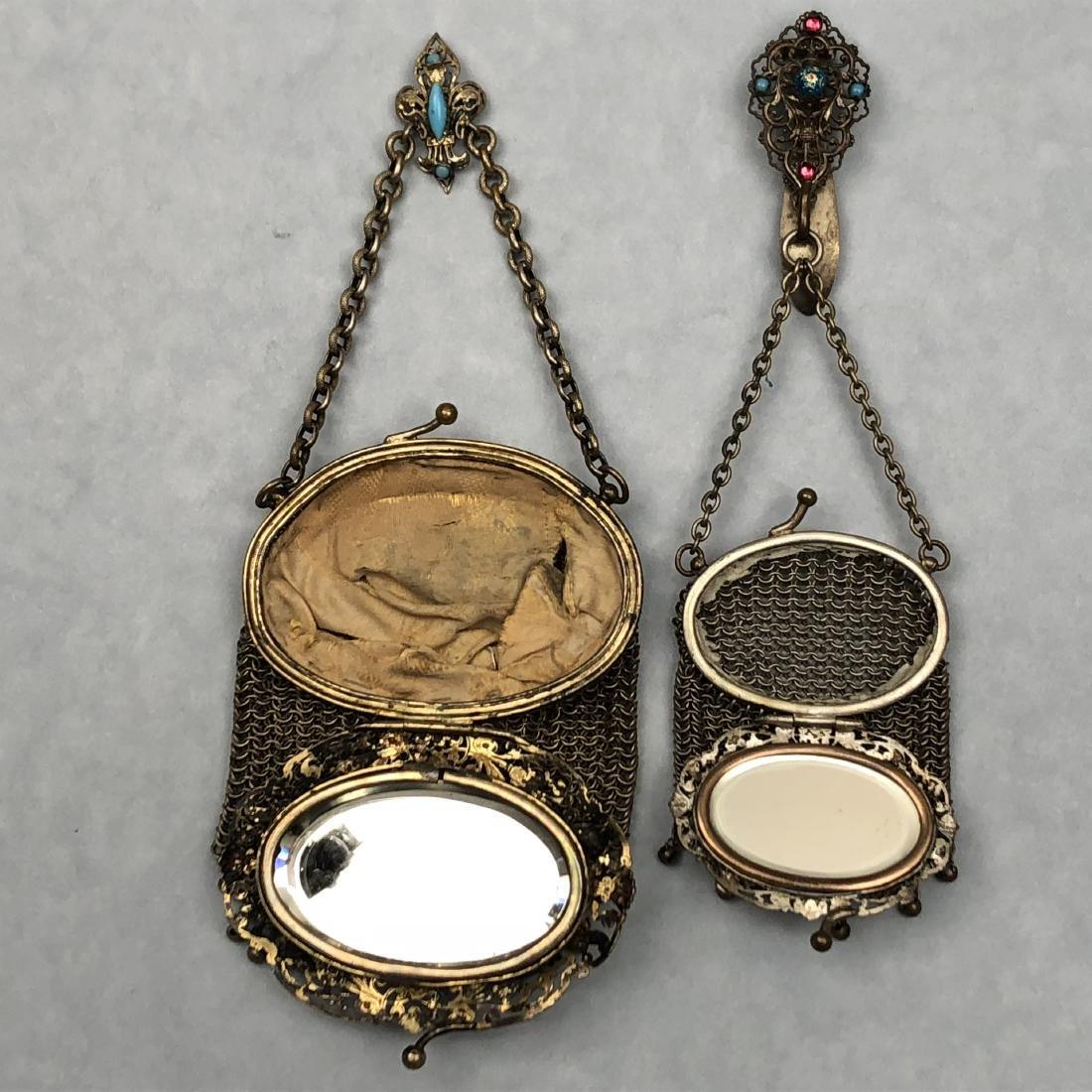 TWO HINGED-LID METAL MESH PURSES, 1890s - 2