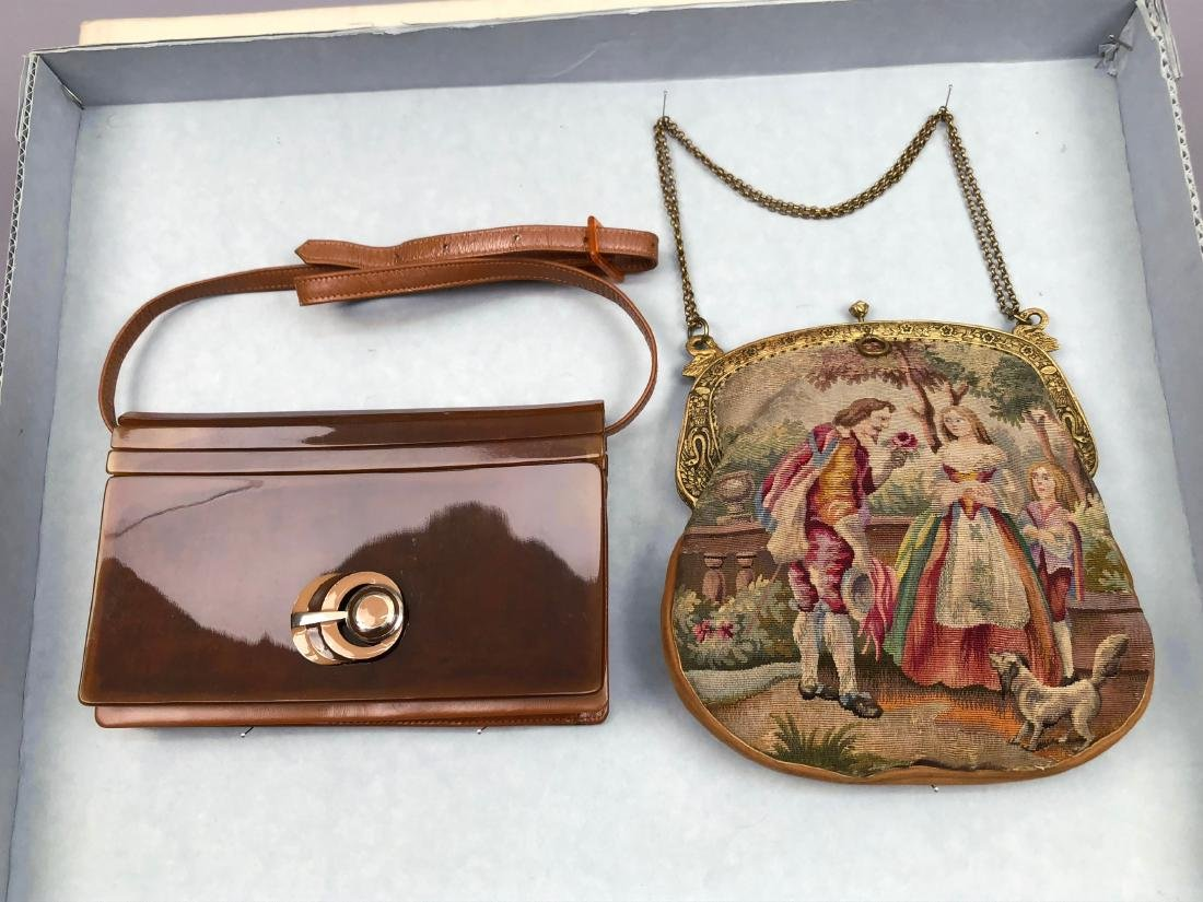 CELLULOID SHOULDER BAG and TAPESTRY PURSE , 1910 -1930