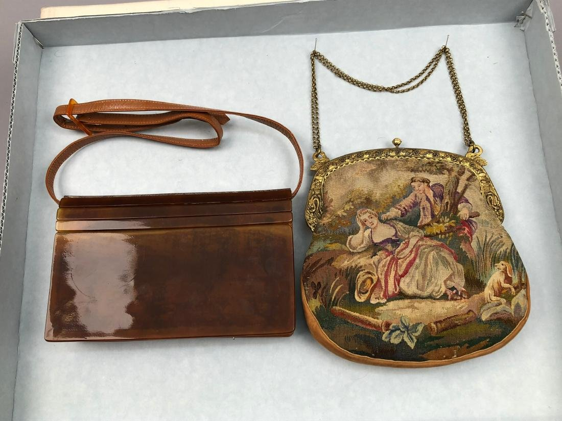 CELLULOID SHOULDER BAG and TAPESTRY PURSE , 1910 -1930 - 2