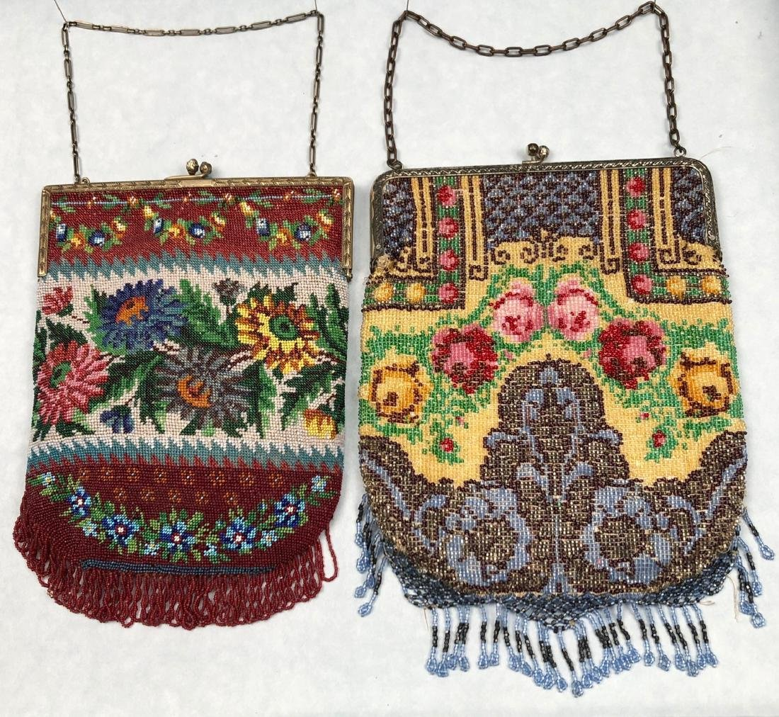 TWO BEADED BAGS with FLORAL DESIGN, 1912 - 1920