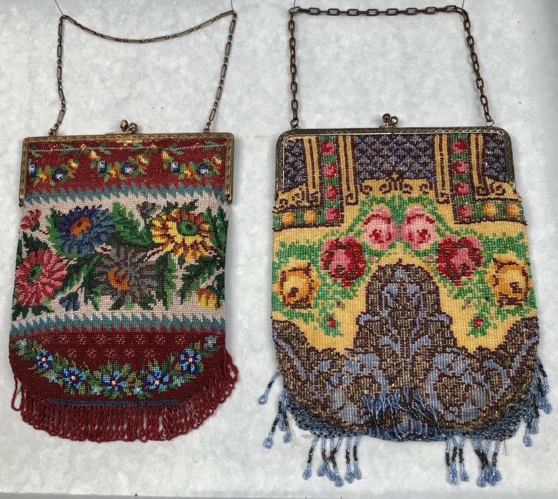 TWO BEADED BAGS with FLORAL DESIGN, 1912 - 1920 - 2