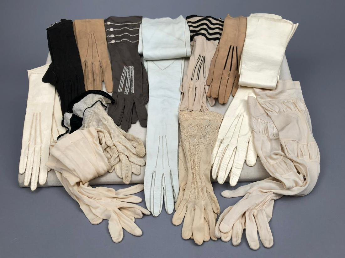 TWELVE PAIR LADIES' GLOVES, 19th - early 20th C