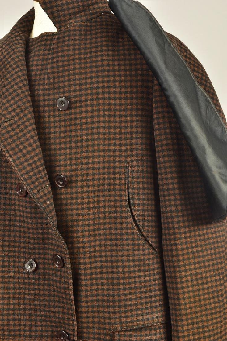 GENTLEMANS CHECKED WOOL COAT with ATTACHED CAPE, 1890s - 2