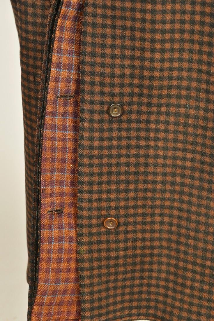 GENTLEMANS CHECKED WOOL COAT with ATTACHED CAPE, 1890s - 3