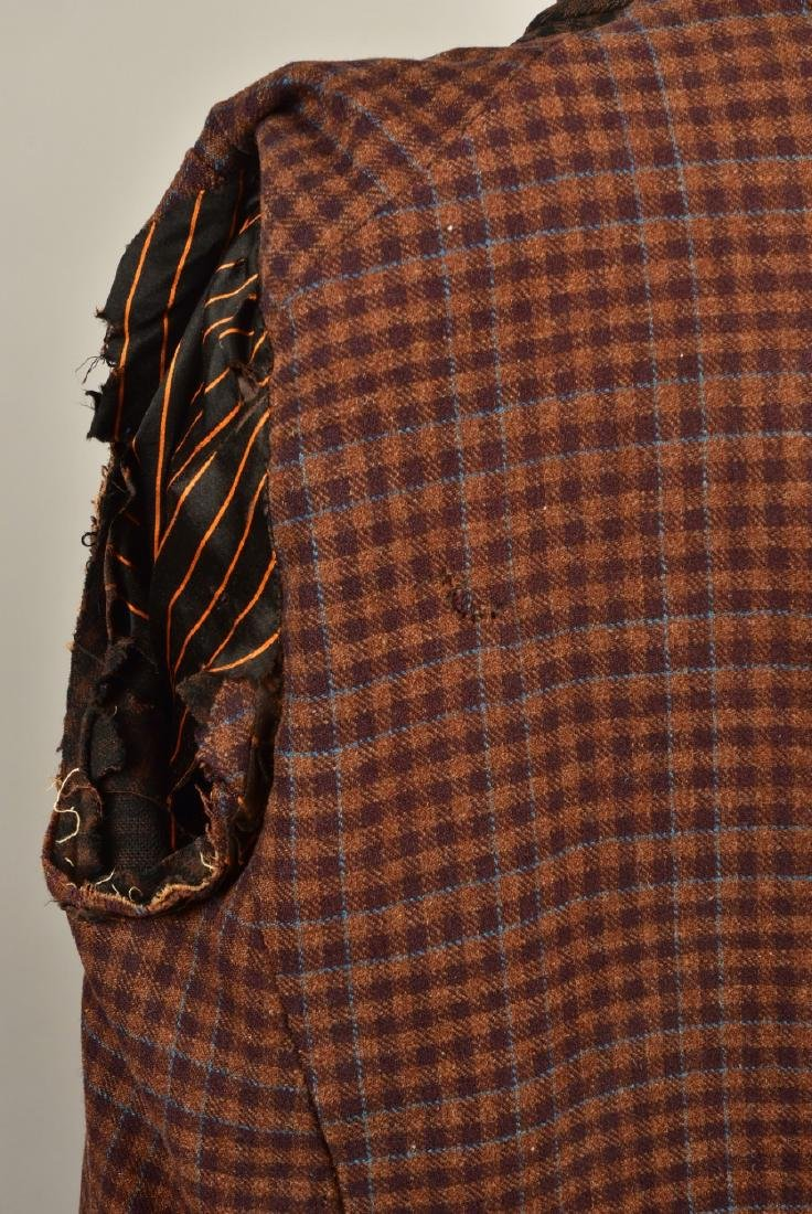 GENTLEMANS CHECKED WOOL COAT with ATTACHED CAPE, 1890s - 4