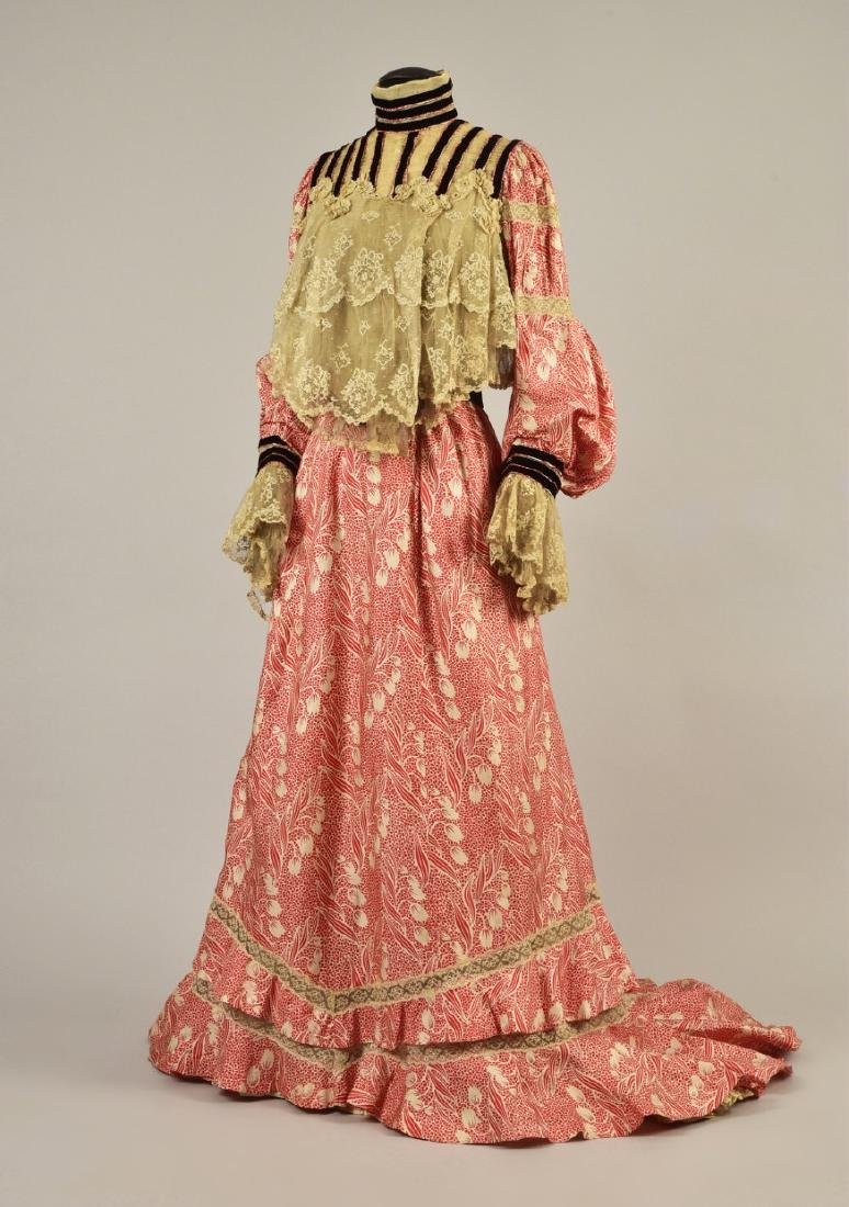 SILK FOULARD DRESS with LACE and VELVET, 1902 - 1903