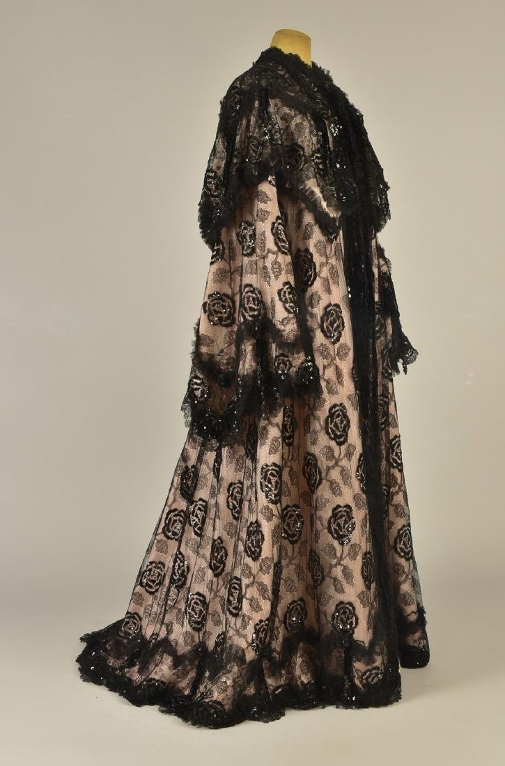 SEQUINED BLACK LACE EVENING COAT, c. 1900
