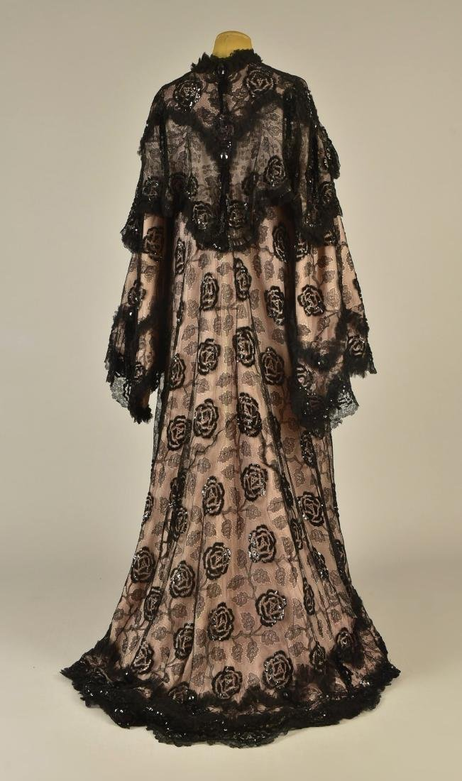SEQUINED BLACK LACE EVENING COAT, c. 1900 - 2
