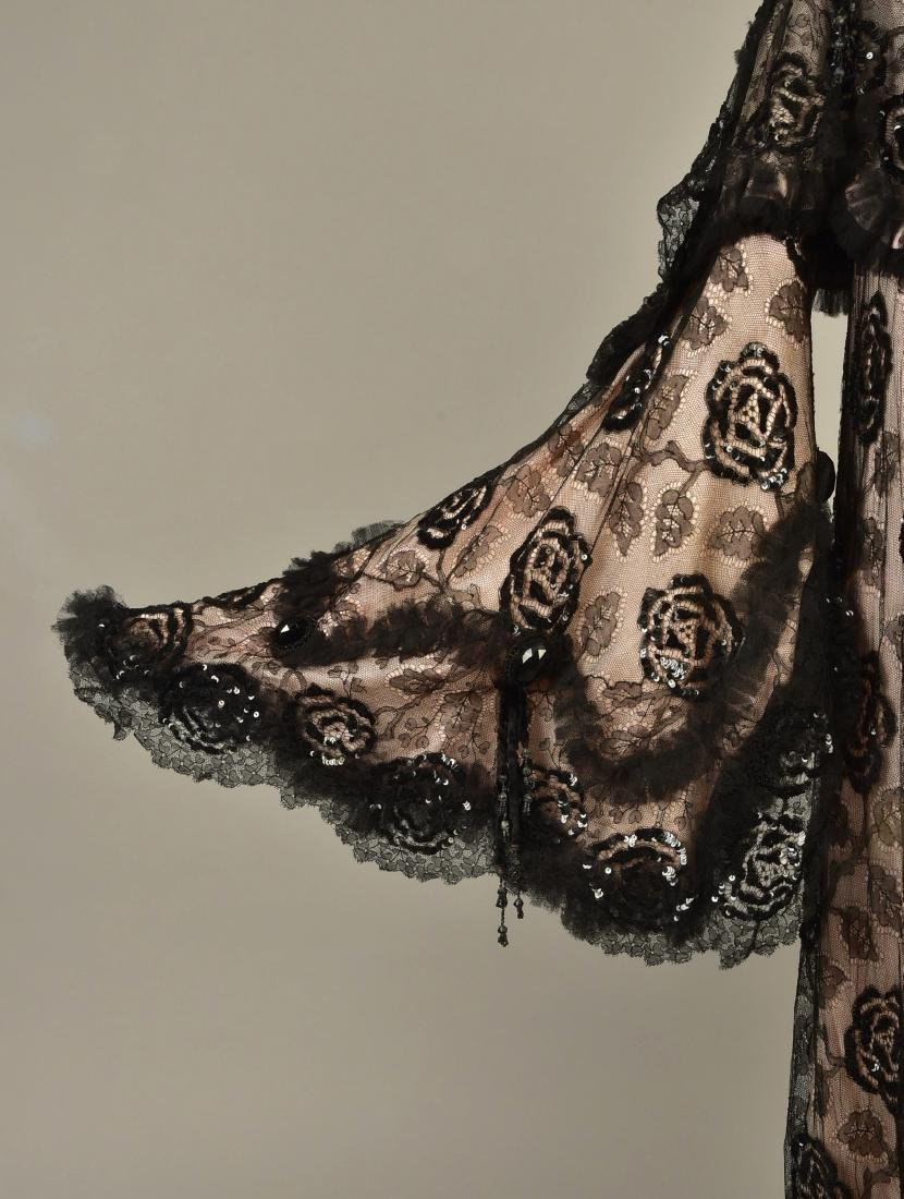 SEQUINED BLACK LACE EVENING COAT, c. 1900 - 3