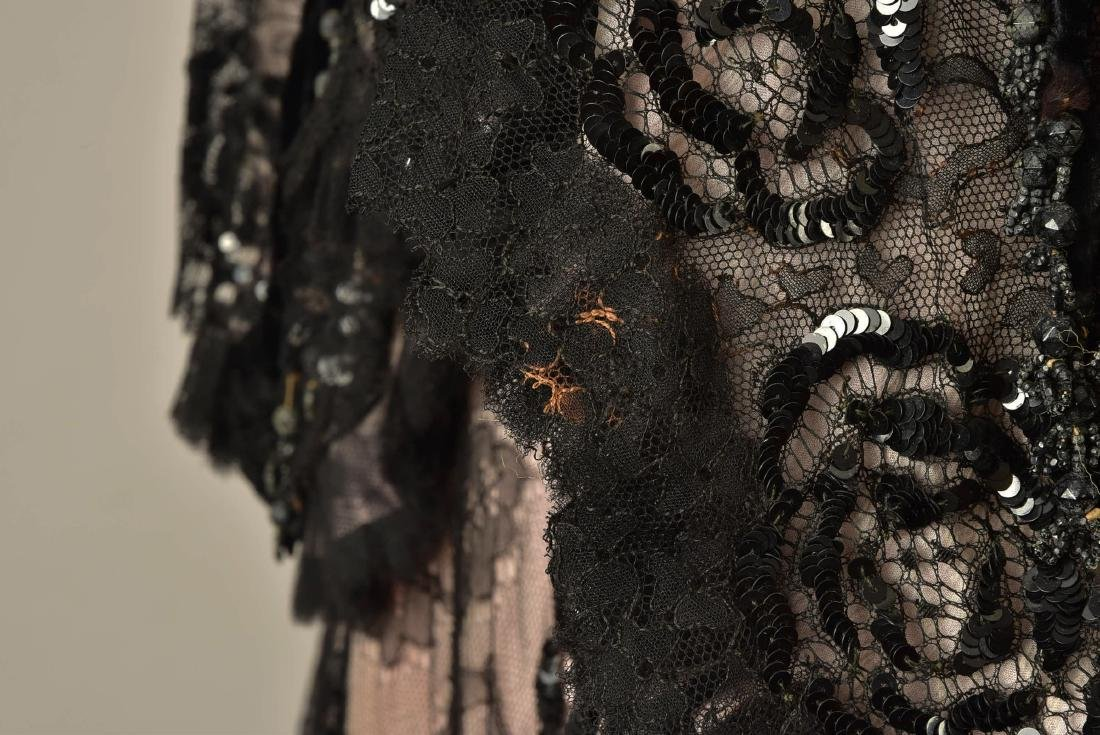 SEQUINED BLACK LACE EVENING COAT, c. 1900 - 4