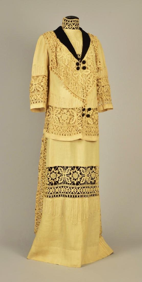 LINEN DRESS and JACKET with CLUNY LACE, 1910 - 1912