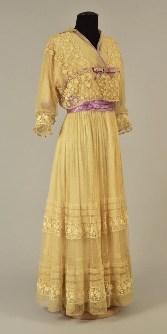 LACE and NET DRESS with LILAC TRIM, 1916