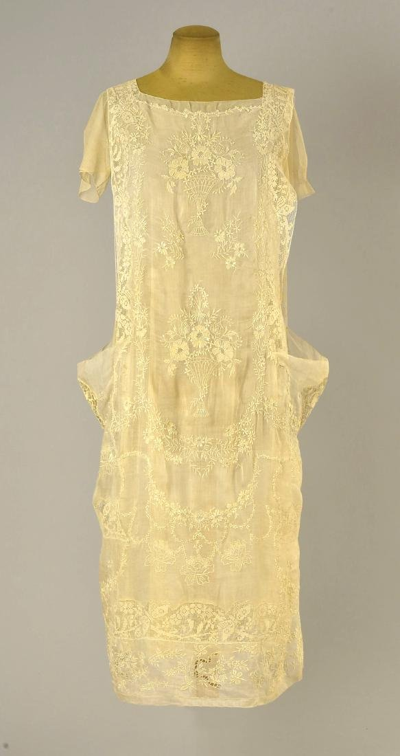 EMBROIDERED COTTON DRESS, possibly CALLOT SOEURS, 1918