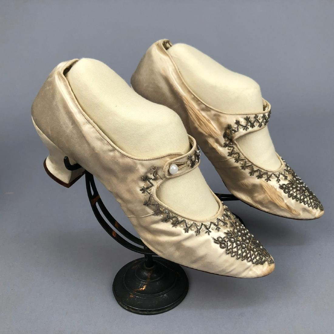 TWO PAIR BEADED SATIN WEDDING SHOES,  c. 1890 and 1914