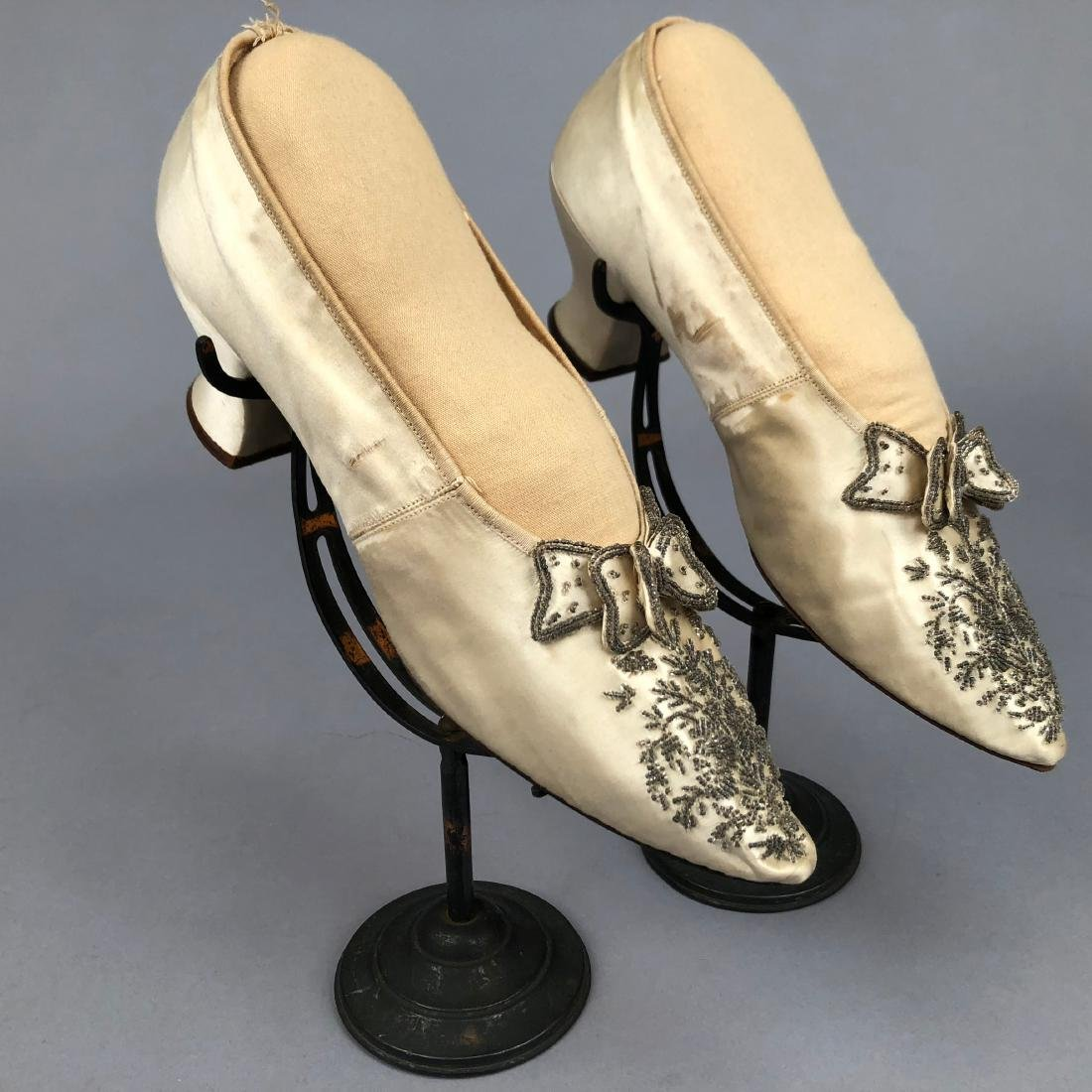 TWO PAIR BEADED SATIN WEDDING SHOES,  c. 1890 and 1914 - 2